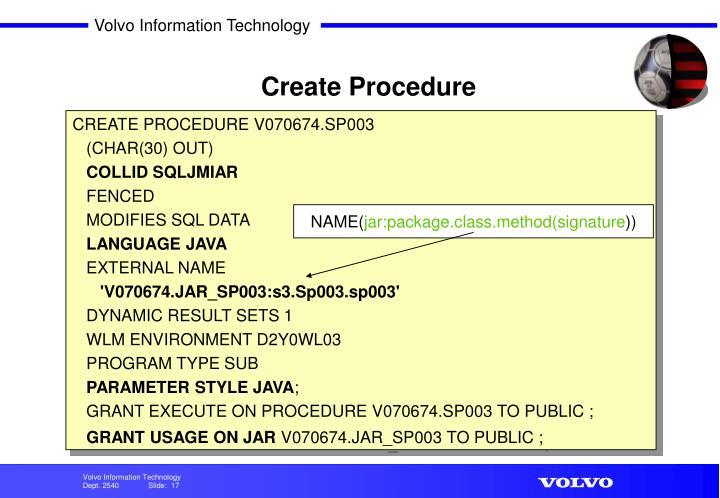 Create Procedure