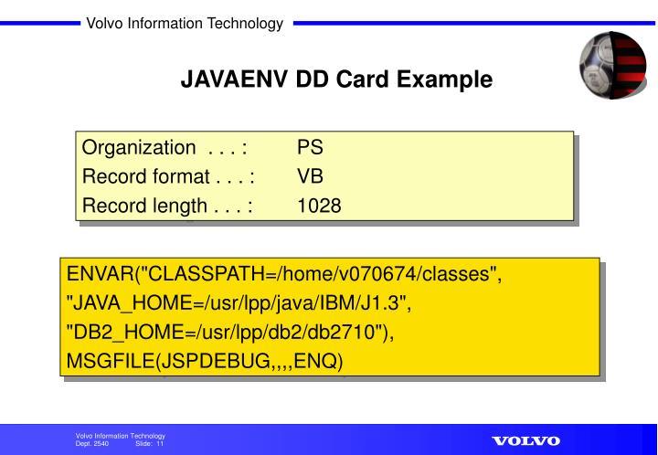 JAVAENV DD Card Example