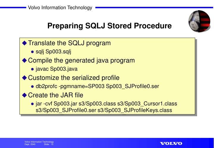 Preparing SQLJ Stored Procedure