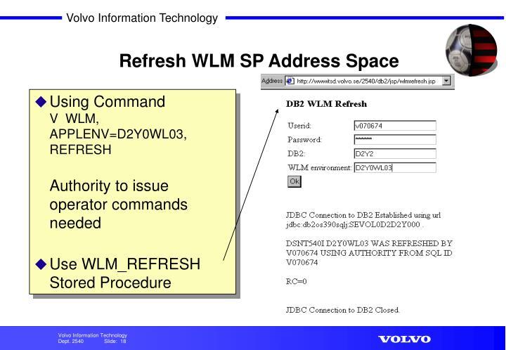 Refresh WLM SP Address Space