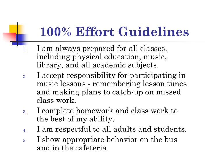 100% Effort Guidelines