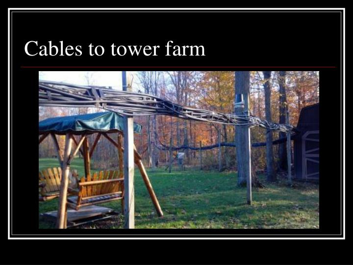 Cables to tower farm