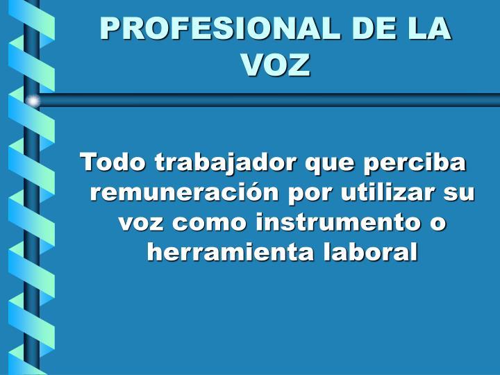 PROFESIONAL DE LA VOZ