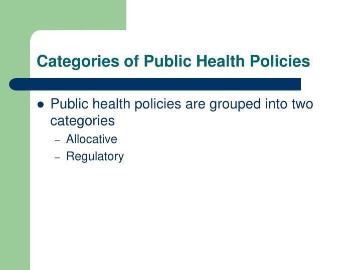 Categories of Public Health Policies