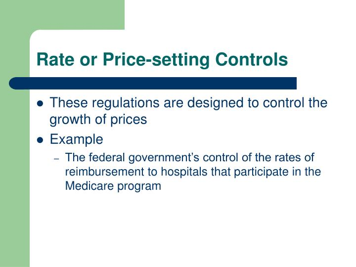 Rate or Price-setting Controls