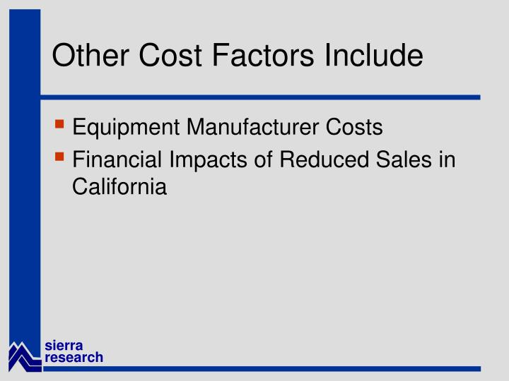 Other Cost Factors Include