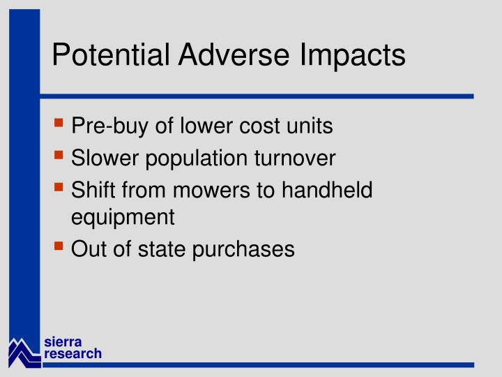 Potential Adverse Impacts