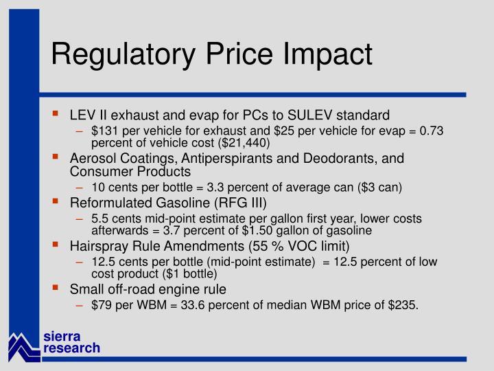 Regulatory Price Impact