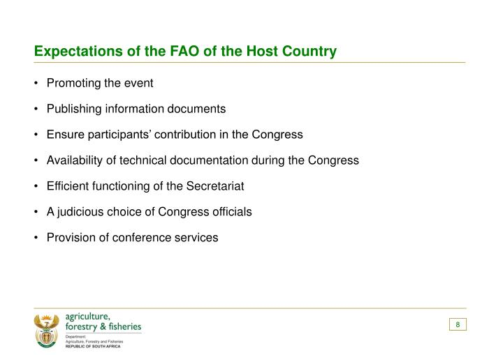 Expectations of the FAO of the Host Country