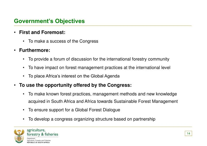 Government's Objectives