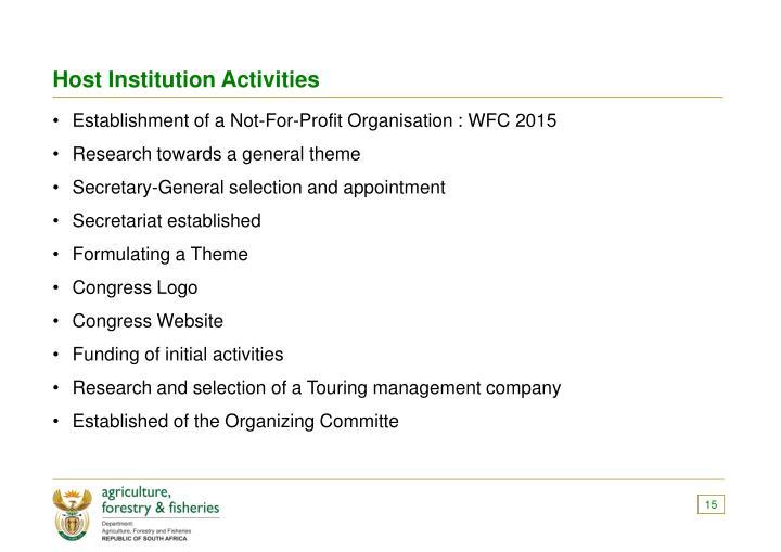 Host Institution Activities