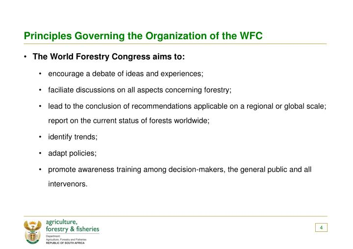 Principles Governing the Organization of the WFC