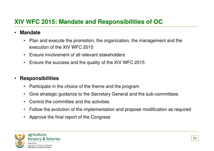 XIV WFC 2015: Mandate and Responsibilities of OC