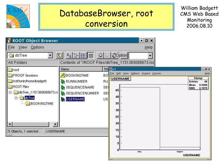 DatabaseBrowser, root conversion