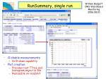 runsummary single run