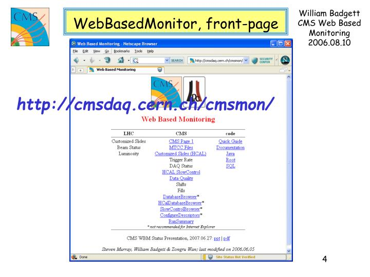 WebBasedMonitor, front-page