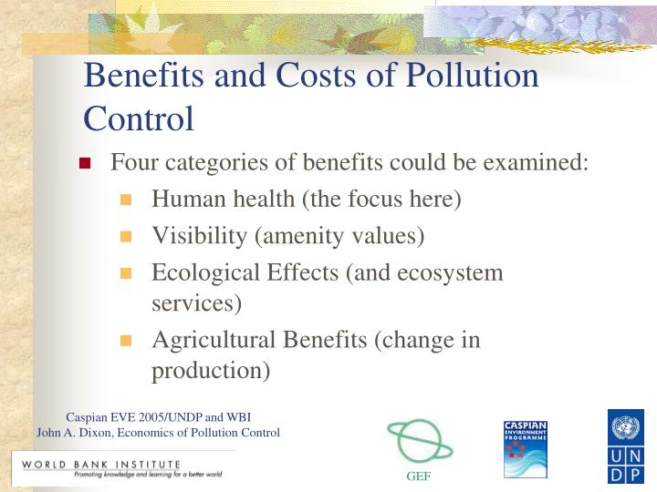 Benefits and costs of pollution control