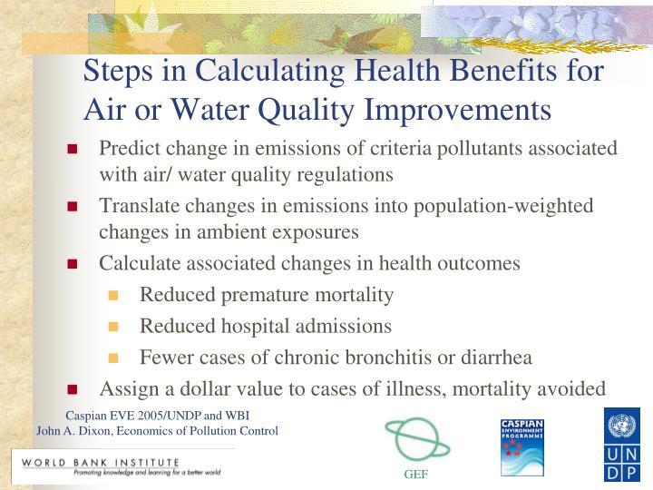 Steps in Calculating Health Benefits for Air or Water Quality Improvements