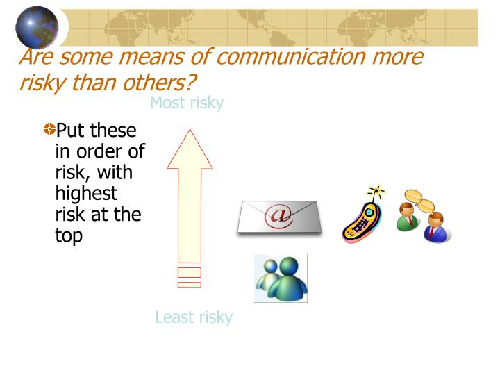Are some means of communication more risky than others?