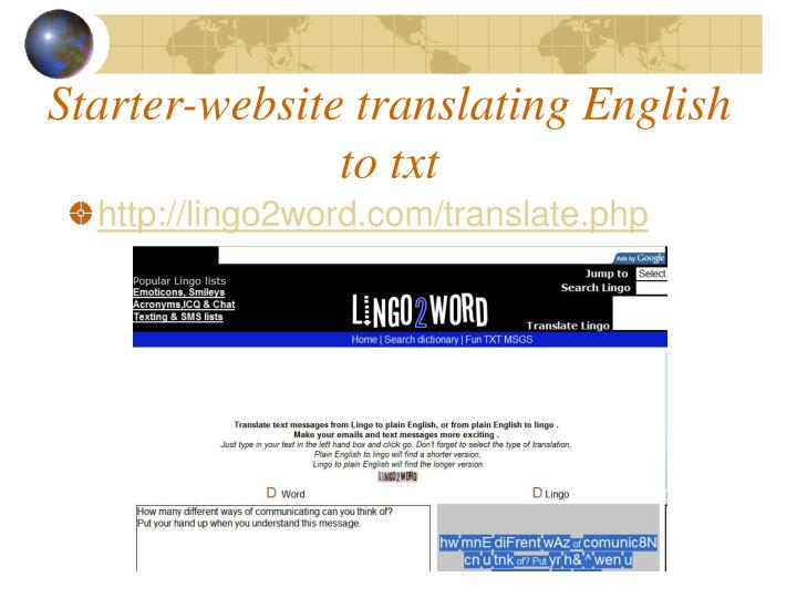 Starter-website translating English to txt
