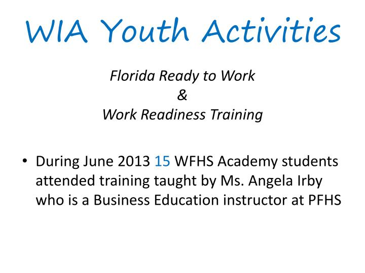 WIA Youth Activities
