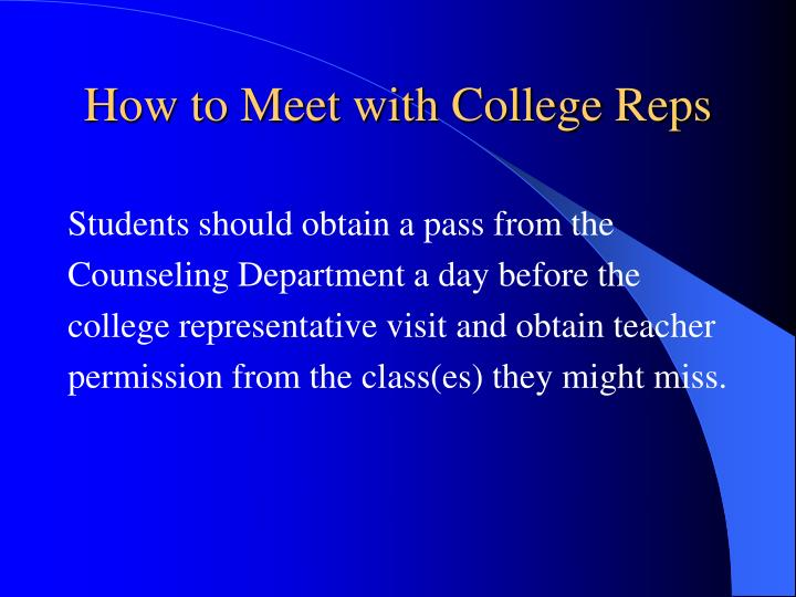 How to Meet with College Reps