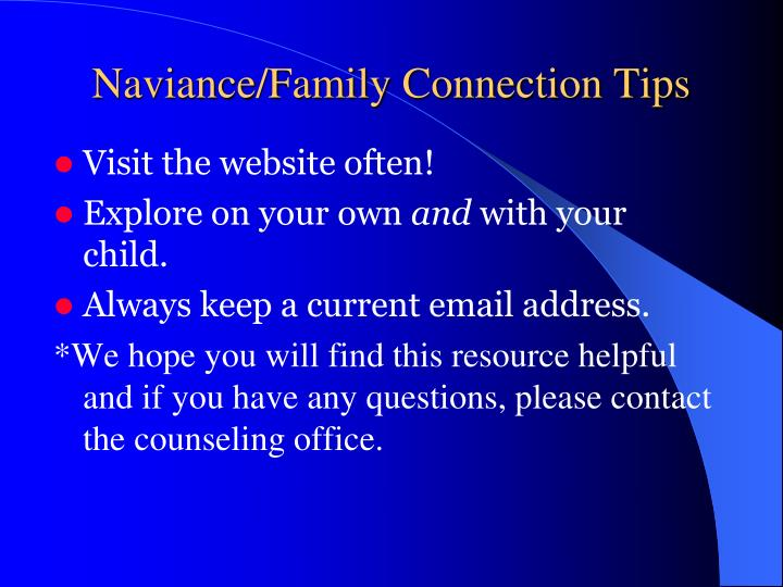 Naviance/Family Connection Tips