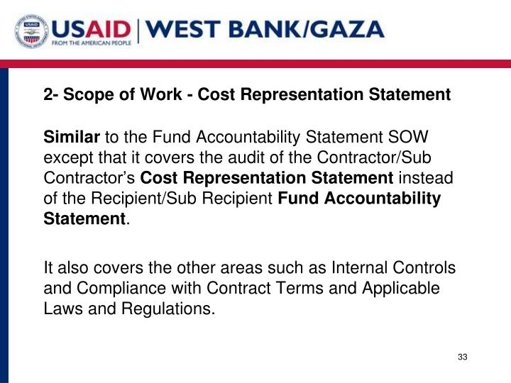 2- Scope of Work - Cost Representation Statement