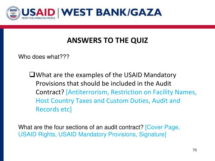 ANSWERS TO THE QUIZ