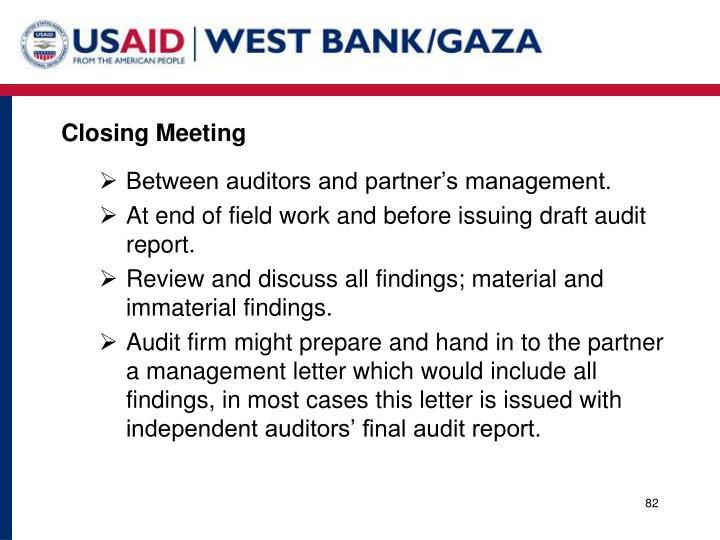 Closing Meeting