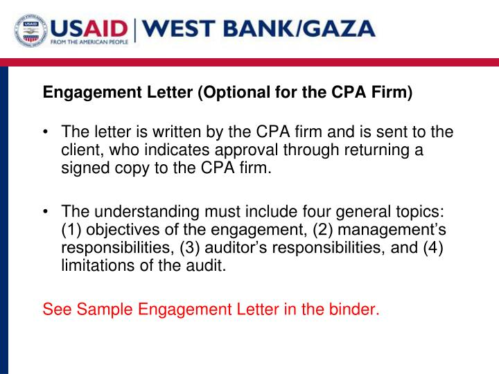 Engagement Letter (Optional for the CPA Firm)