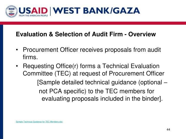 Evaluation & Selection of Audit Firm - Overview
