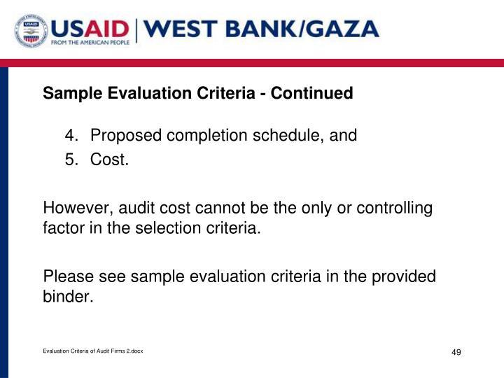 Sample Evaluation Criteria - Continued