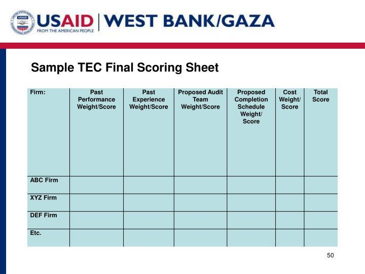 Sample TEC Final Scoring Sheet