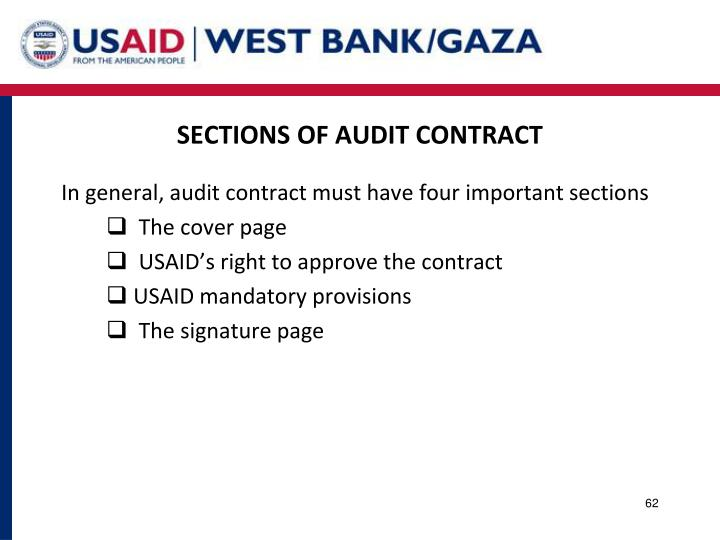 SECTIONS OF AUDIT CONTRACT