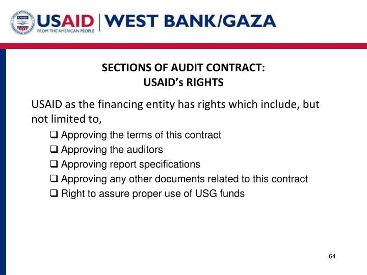 SECTIONS OF AUDIT CONTRACT: