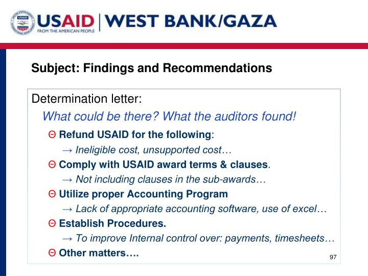 Subject: Findings and Recommendations