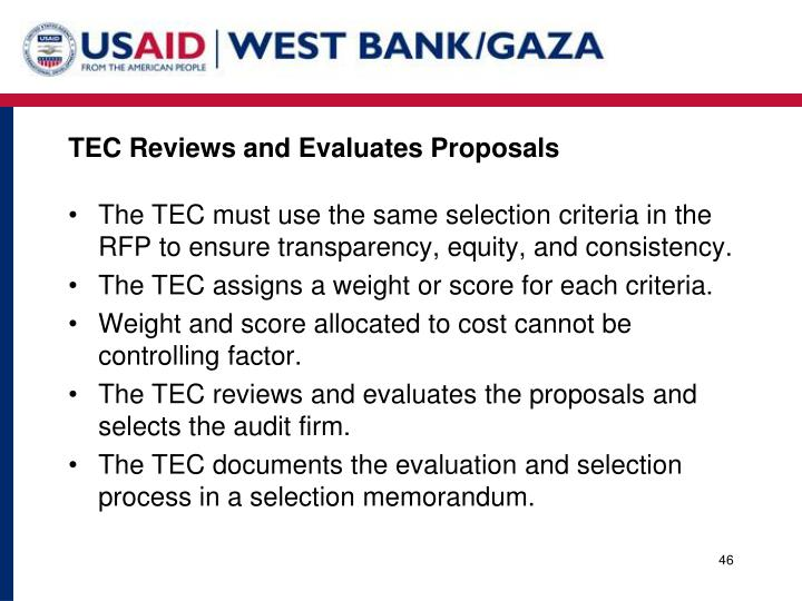 TEC Reviews and Evaluates Proposals