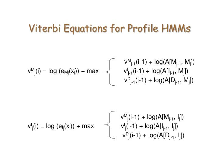 Viterbi Equations for Profile HMMs