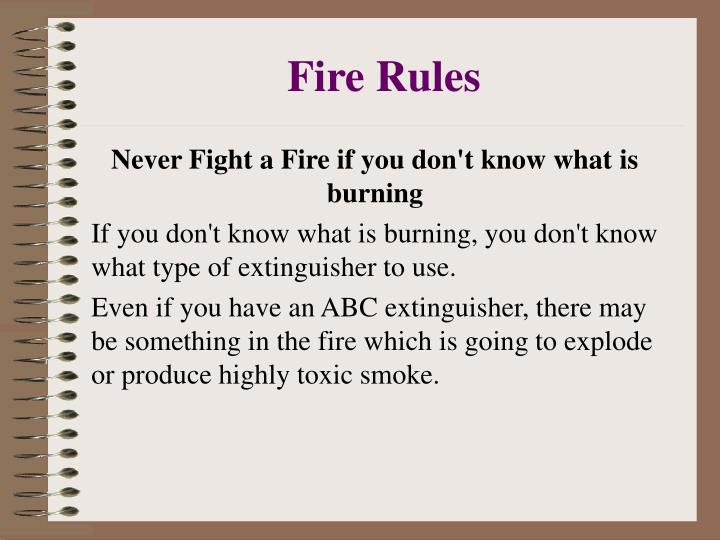 Fire Rules