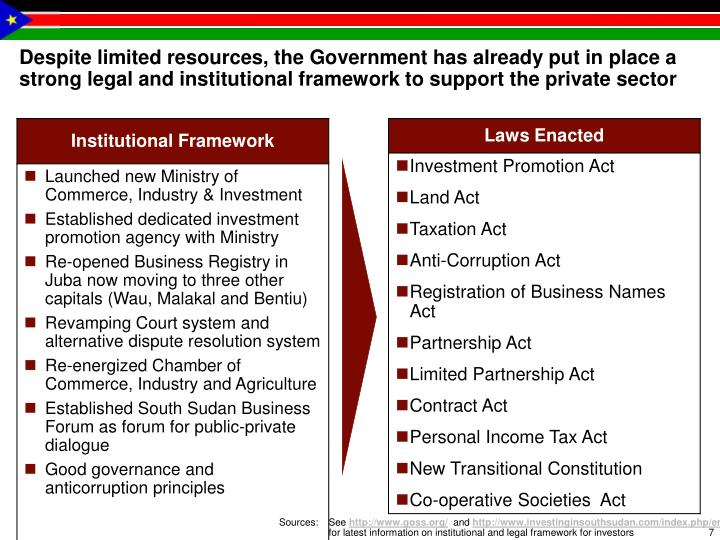 Despite limited resources, the Government has already put in place a strong legal and institutional framework to support the private sector