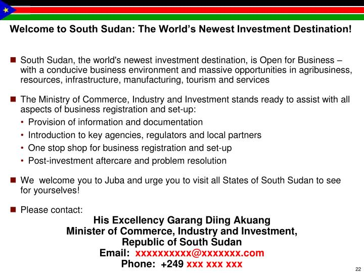 Welcome to South Sudan: The World's Newest Investment Destination!