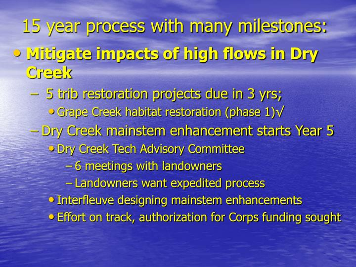 15 year process with many milestones: