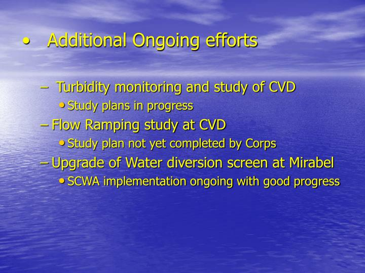 Additional Ongoing efforts