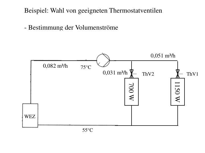 Beispiel: Wahl von geeigneten Thermostatventilen