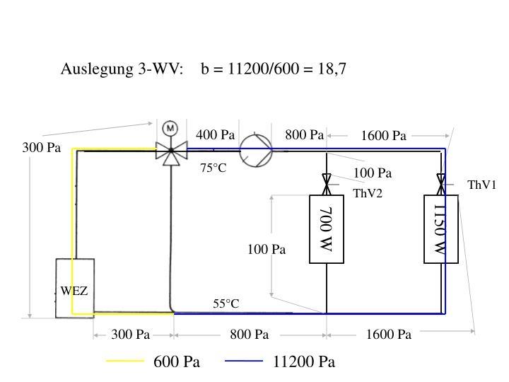 Auslegung 3-WV:    b = 11200/600 = 18,7