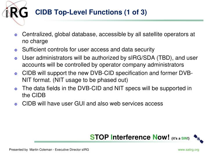 CIDB Top-Level Functions (1 of 3)