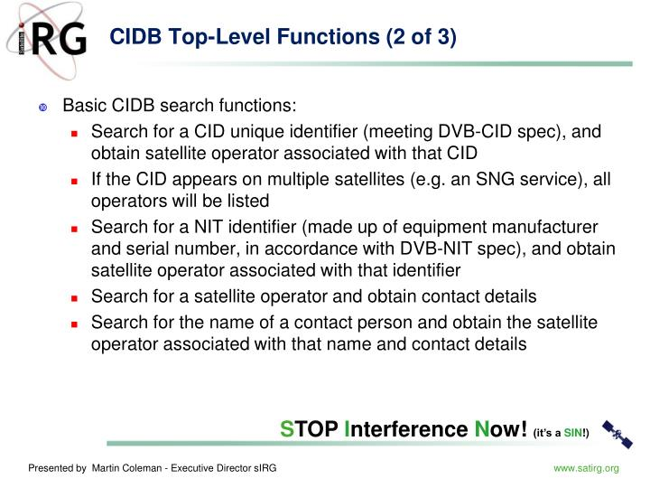 CIDB Top-Level Functions (2 of 3)
