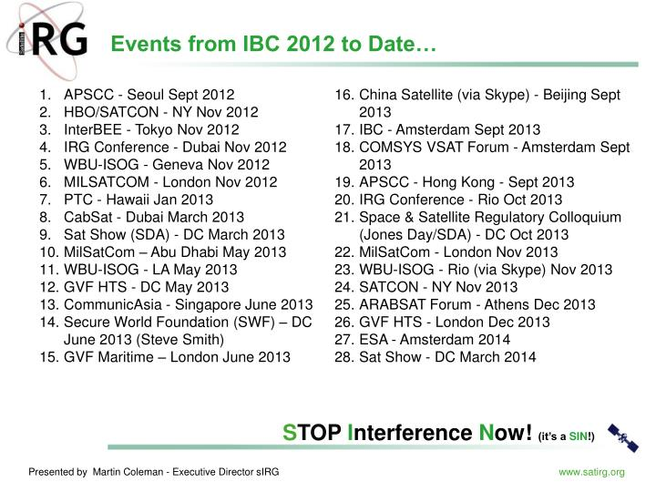 Events from IBC 2012 to Date…