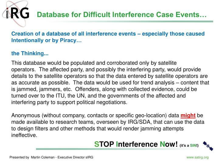 Database for Difficult Interference Case Events…